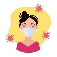 mulher usando máscara médica estilo bloco