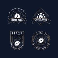 Coleções de crachás de etiquetas de café retro vetor