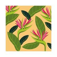 helicônias plantas tropicais padrão de fundo vetor