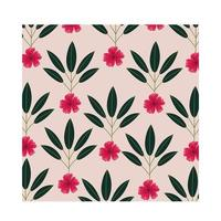 flores rosa plantas tropicais padrão de fundo vetor