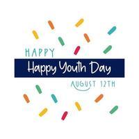 feliz dia da juventude letras com estilo simples de confete vetor