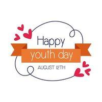 feliz dia da juventude letras com estilo simples de moldura de fita vetor