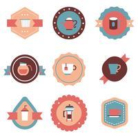 Emblemas de café coloridos vetor