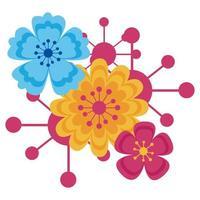 projeto de ornamento de flores isoladas