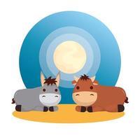 personagens de mulas e bois vetor