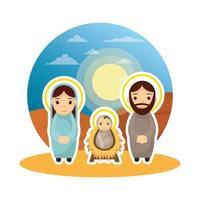 personagens fofos da manjedoura sagrada da família vetor