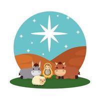 bebê Jesus com personagens de mula e manjedoura de boi vetor
