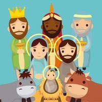 personagens fofinhos da sagrada família e da manjedoura de animais vetor