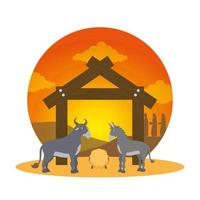 mula e boi em personagens de manjedoura estáveis vetor