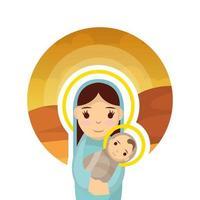 Virgem Maria fofa com personagens jesus bebê manjedoura vetor