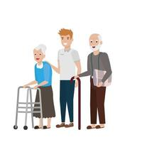 desenho vetorial de avó e avô vetor