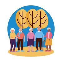 grupo de avós desenho vetorial vetor