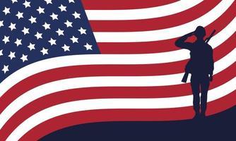 Soldado saudando a silhueta com o fundo da bandeira dos EUA vetor