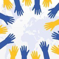 mãos em amarelo e azul sobre o globo para síndrome de down vetor