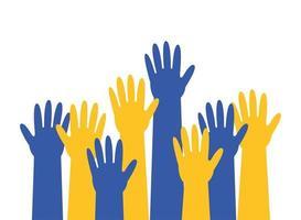 mãos em amarelo e azul para síndrome de down vetor
