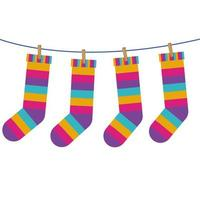 meias com listras coloridas penduradas na linha vetor