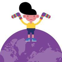 menino com meias listradas coloridas no planeta Terra vetor