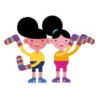 crianças pequenas com meias coloridas vetor