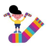 menino com meias listradas coloridas vetor