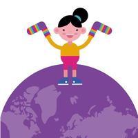 menina com meias listradas coloridas no planeta Terra vetor