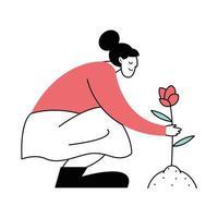 mulher plantando flores