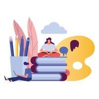 jovem casal usando laptop e lendo livros vetor