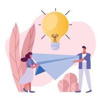 jovem casal levantando avião de papel e lâmpada vetor