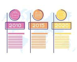 infográfico de negócios com ícones de anos vetor