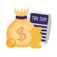 dia do imposto documento bolsa de dinheiro e desenho vetorial de moedas vetor