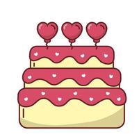 desenho vetorial de bolo de corações de amor