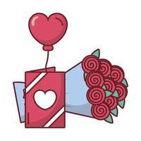 cartão e rosas com desenho de vetor de balão de coração