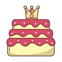 amo coração dentro da coroa sobre desenho vetorial de bolo