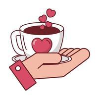 amo o coração na xícara de café na mão desenho vetorial