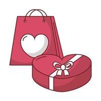 desenho vetorial de caixa e bolsa de coração