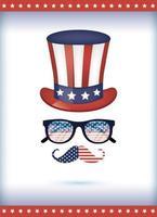 óculos de chapéu e design de vetor de bigode dos EUA