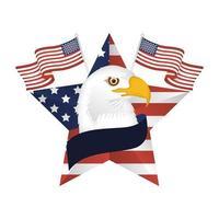 Águia dos EUA dentro de estrela com desenho de vetor de bandeiras