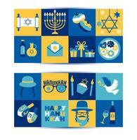 conjunto de bandeiras de saudação do feriado judaico hanukkah vetor