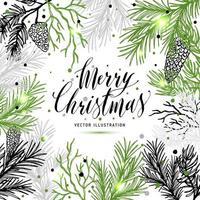 cartão de feliz natal com árvore de ano novo e caligrafia vetor
