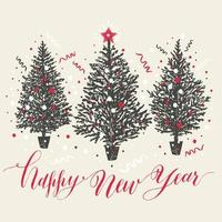 mão desenhada cartão de Natal. árvores de ano novo com neve e confetes. vetor