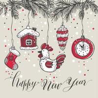estilo desenhado mão de brinquedos de ano novo. cartão de felicitações para o natal vetor