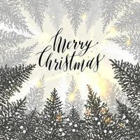 mão desenhada cartão de Natal. árvores de ano novo com neve. ilustração de desenho vetorial. vetor