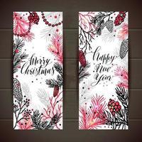 Feliz Natal saudação conjunto de banners com a árvore do ano novo e caligrafia vetor