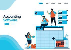 modelo de página de destino do software de contabilidade com uma planilha para a confecção do balanço. software de planilha em computadores e laptops. ilustração para ui ux, site, web, aplicativos para celular, panfleto, anúncios