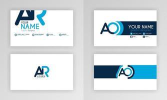 modelo de cartão de visita azul. design de cartão de identidade simples com logotipo do alfabeto e decoração de acento de barra. para corporativo, empresa, profissional, comercial, publicidade, relações públicas, folheto, pôster vetor