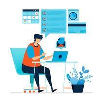 ilustração em vetor de homem trabalhando em casa. trabalhar em uma mesa de trabalho em casa. completar tarefas, responder e-mails, trabalhos agendados. o estilo de vida dos freelancers. pode usar para página de destino, modelo, interface do usuário, web