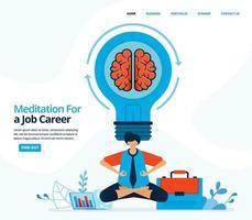 ilustração em vetor humana de meditar durante o trabalho. à procura de inspiração e ideias com uma mente calma. pode usar para página de destino, modelo, web, aplicativo móvel, pôster, banner, folheto, plano de fundo, site