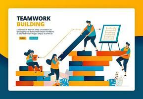 ilustração dos desenhos animados de estratégia e planejamento na construção da viga. desenvolvimento humano em trabalho em equipe, colaboração e construção. desenho vetorial para página de destino site banner web cartaz de aplicativos móveis vetor