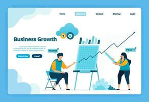 página inicial do crescimento do negócio. planejando uma estratégia para aumentar as vendas e lucros da empresa. ilustração de página de destino, site, aplicativos móveis, pôster, folheto vetor