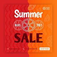 modelo de postagem de mídia social de venda de verão. cartazes promocionais para o verão. pode ser usado para mídia online, brochura, folheto, cartão, anúncio de parede, pôster, promoção de mídia de site, outdoor, anúncios de aplicativos vetor