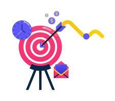 design para atingir metas de negócios, setas e dardos, motivação empresarial. também pode ser usado para design de ícones de negócios e elementos gráficos vetor